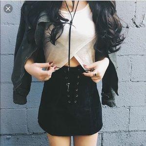 One Way Velvet Corduroy Black Tie Skirt LF